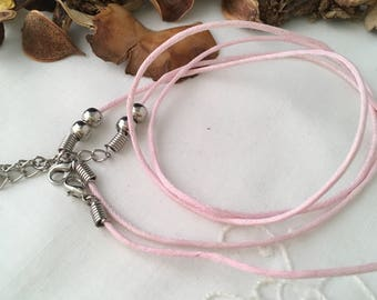 set of 2 necklaces in pink cotton 44 and 46 cm x 2 mm