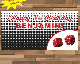 "18""x30"" Casino Night Personalized Party Banner 