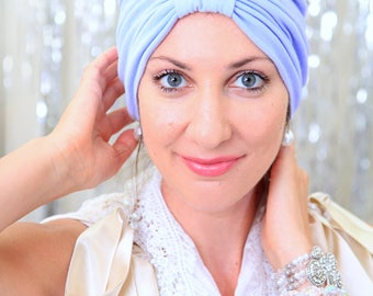 Fashion Turban in Light Blue -  Women's Hairwraps - Jersey Knit Headwrap Turbans - Lots of Colors