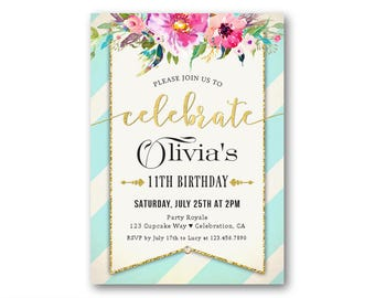 Girl's 11th Birthday Invitations, Kids Birthday Party Invites, Colorful Florals Shabby Chic Invitations for Kids, 9th 10th 11th or any age