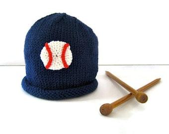 Knit BASEBALL hat - knit baby hat - knit baby boy hat - crocheted baby hat - knit boy's hat - baby shower gift - baseball fan - sports gift