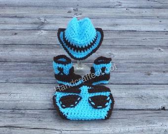 Blue cowboy outfit, newborn blue cowboy hat, crochet cowboy costume, boys blue outfit, coming home outfit, crochet cowboy outfit,baby diaper