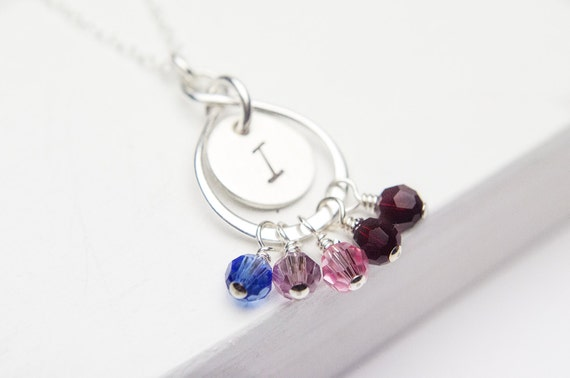 Family Necklace   Sterling Silver Eternity Infinity Initial   Birthstones