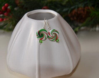 Peppermint Twist Earrings--Red and Green, with Wintergreen Crystals