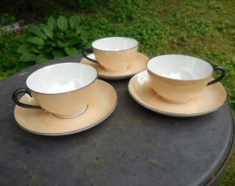 Vintage 1930s to 1940s Beige/White Iridescent with Black Trim Lusterware Made in Germany Set of 3 Teacups and Saucers