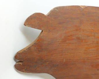 Vintage Wood Pig Cutting Board - Primitive Pig Cutting Board - Farmhouse - Wood Cutting Board - Kitchen Primitive - Kitchen Antique