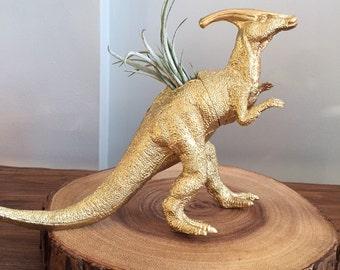 Gold dinosaur planter with air plant; air plant holder; desk planter; dorm decor, plantasaur
