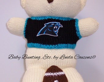 Bear, Carolina Panthers Bear, Baby Boy Bear, Baby Shower Gift, Birthday Gift, Keepsake Bear, Souvenir Bear, Father's Day