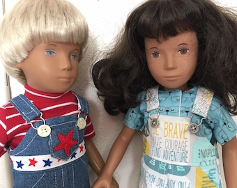 Choice of Shortalls Set for Sasha or Gregor Doll:  Fitted Denim and Red, Relaxed Blue/Gray