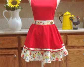 Apron, Hostess Apron, Flirty Apron, Red Apron