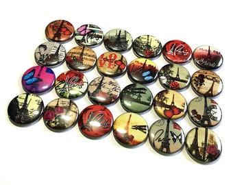 """Paris Magnet, 1"""", 1.5"""", Button Magnet, Paris Button, Eiffel Tower Magnet, Paris, Eiffel Tower, Paris Decor, Paris Theme, Eiffel Tower Decor"""