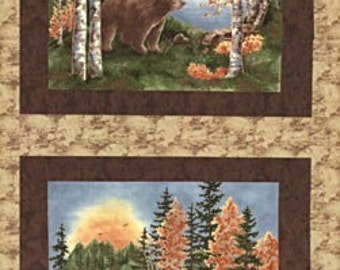 Birch Lodge FABRIC BLOCKS PANEL -  Moda Fabric By Holly Taylor // Bears Moose Northwoods