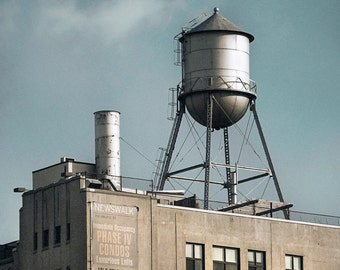 New York water towers 10 - Industrial, Color Photograph, Urban Art Photography, Brooklyn, Nostalgic, Original Signed Print.