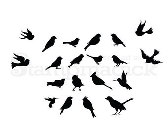 Birds Wall Decal - 20 flying and sitting birds vinyl wall decor art sticker graphics - K261