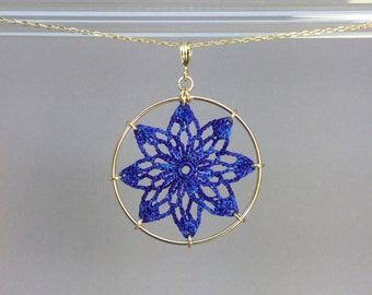 Tavita doily necklace, blue hand-dyed silk thread, 14K gold-filled
