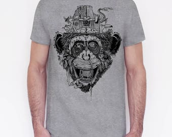 T-shirt unisex handprinted Giungla Urbana grey edition