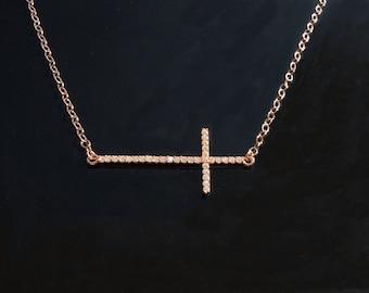 Sideways Rose Gold Cross