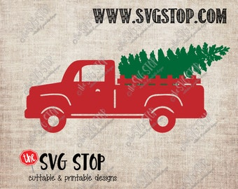Red Truck Christmas Tree Vintage SVG files for Cricut, Silhouette, Vinyl Cutters and Screen Printing