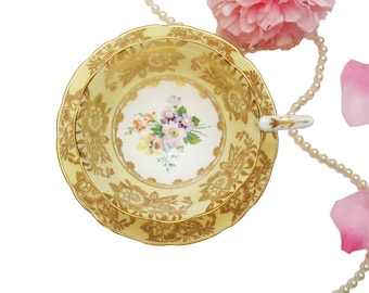 Ornate Pastel Yellow Royal Stafford Teacup with Gold GIlding, Colourful Floral Teacup, Shabby Chic