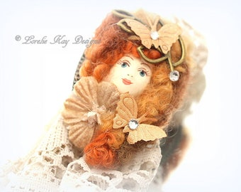 Autumn Dolly Ring Red Head Nature Girl Girl Statement Ring Assemblage Wearable Doll Head Jewelry Lorelie Kay Original