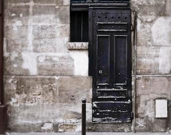 Paris Door, Rustic Art Print, Gray, Black, Architecture, Paris Photography, Black Door