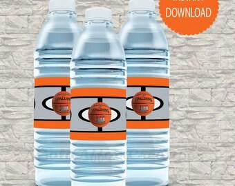 Basketball Water bottle Labels- Spalding water bottle labels-custom labels-Instant Download