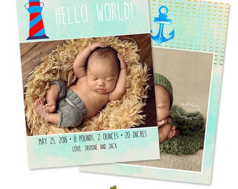 INSTANT DOWNLOAD 5x7 Nautical Birth Announcement Card Photoshop Template - CA641