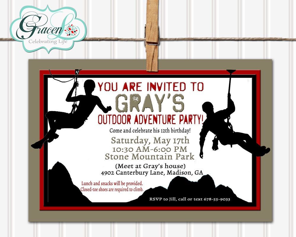 Rock Climbing Party Invitation Adventure Birthday Invitation