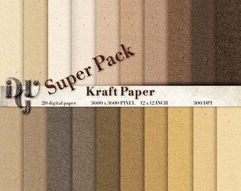 Kraft paper textures Cardboard digital paper pack Scrapbooking Paper digital background printable paper Kraft Instant Download 137