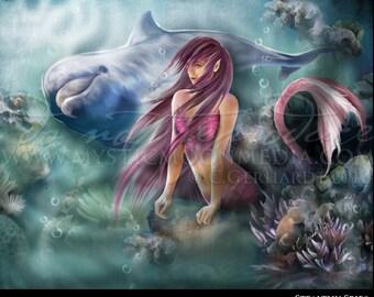 Mermaid Tail - Print - Mermaid and Dolphin - Mermaid Decor - Bathroom Decor -Bathroom Art