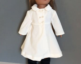 18 Inch Doll Coat, Cream Corduroy, Off White Doll Coat, 18 Inch Doll Clothes, Spring or Winter Doll Clothes
