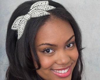 Crystal Rhinestone Headband Bow Bandeaux Stretch Headband