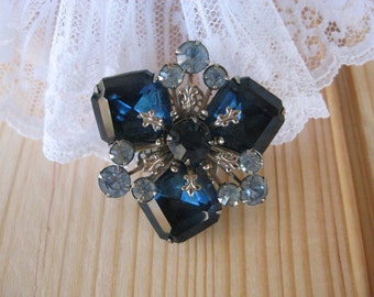 Vintage Blue and Light Blue Brooch, Silver Tone (C)