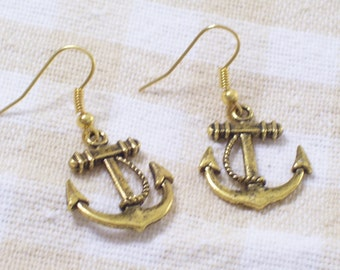 Antiqued Gold Plated Twist Rope Ship Anchor Earrings, Gold Anchor Earrings, Nautical Earrings, Nautical Jewelry, Gold Nautical
