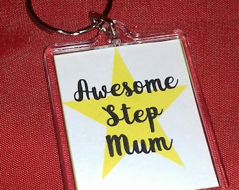 Awesome Step Mum keyring, Step Mum Gifts, Key Chain For Her, Small Gift For Special Lady, Keepsake Gifts, Step Mum Birthday