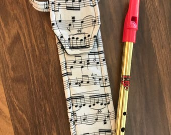 Tin Whistle Cover, Recorder Case, Irish Penny Whistle, Sleeve, Bag, Fife, Custom, Pouch, Classical Conversations, Woodwind, Music Notes Gift