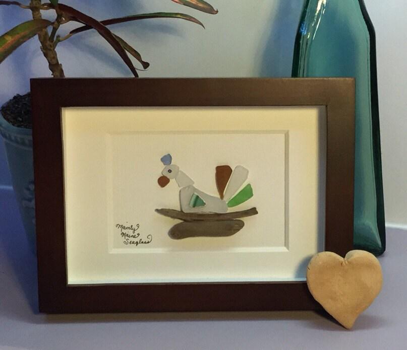 Nesting Bird, Sea Glass Art, Country Kitchen decor, Bird Art ...