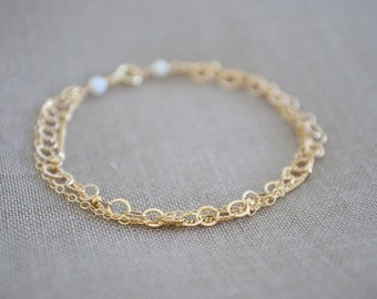 Triple Layered Gold Bracelet / Textured Chain Bracelet, Gold Filled Chain