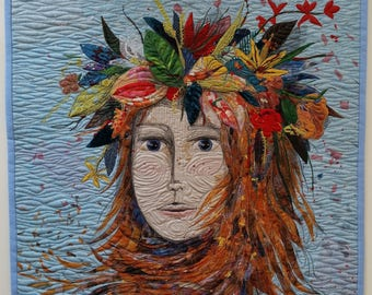 Here comes Ms Autumn, textile wall hanging, 54x49cm