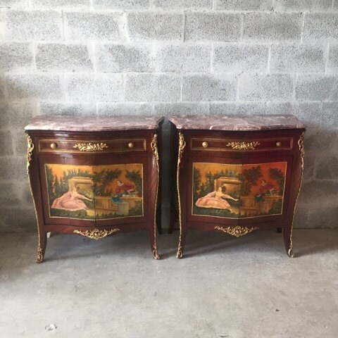 French Commode French Furniture HandPainted Set of 2 Refinished