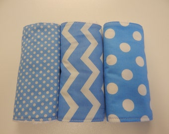 Blue Chevron and Spots Burp Cloths - Set of 3 - Toweling Backed -  100% Cotton