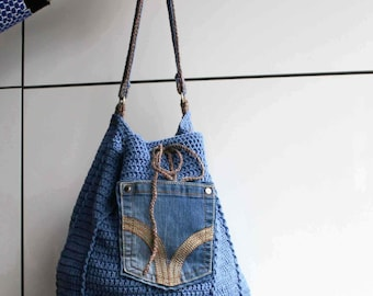 Crochet pattern, crochet bag pattern, upcycled denim drawstring, granny crochet bag pattern 276 Instant Download