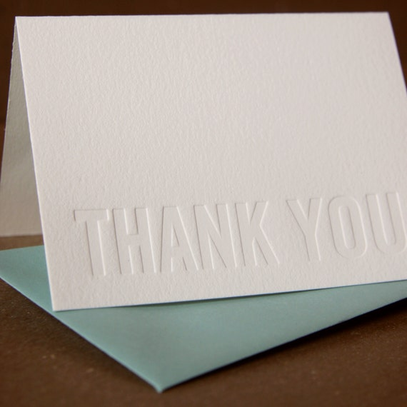 Letterpress Thank You Cards : Impression (No Ink) Modern Block Thank You Notes - box of 50 small folded cards w envelope color choice