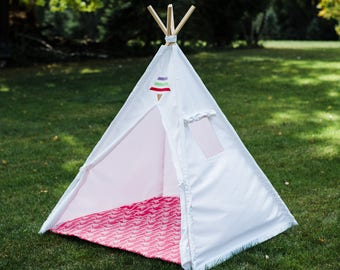 Canvas Teepee in White With Window, Tribal Tent, 2 Sizes Available, Kids Play Tent, Childrens Tee Pee, Ready to Ship Fully Assembled