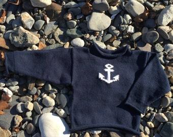 Anchor Sweater,  Maine Sweater, Baby Sweater, Nautical Sweater, Baby Gift