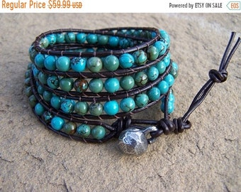 SALE 50% OFF Cabo Turquoise Beaded Leather Wrap Bracelet: Anklet