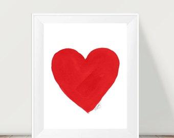 Red Heart Print, 11x14 Watercolor Print, Red Nursery Decor, Red Decor, Red Nursery Art, Red Kids Decor, Heart Wall Art, Love Art, Red Print