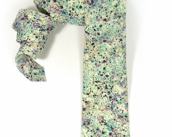 Wedding Mens tie, green black pink spot necktie