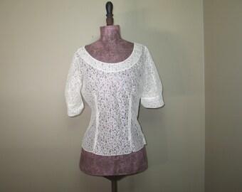 "Vintage 1950's Sheer White Lace Blouse ""JUDY BOND"" size 34"