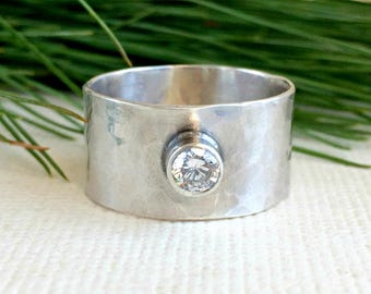 Wide Hammered Ring - Sterling Silver - Hammered Ring with CZ - Customized Ring for Women - Boho jewelry